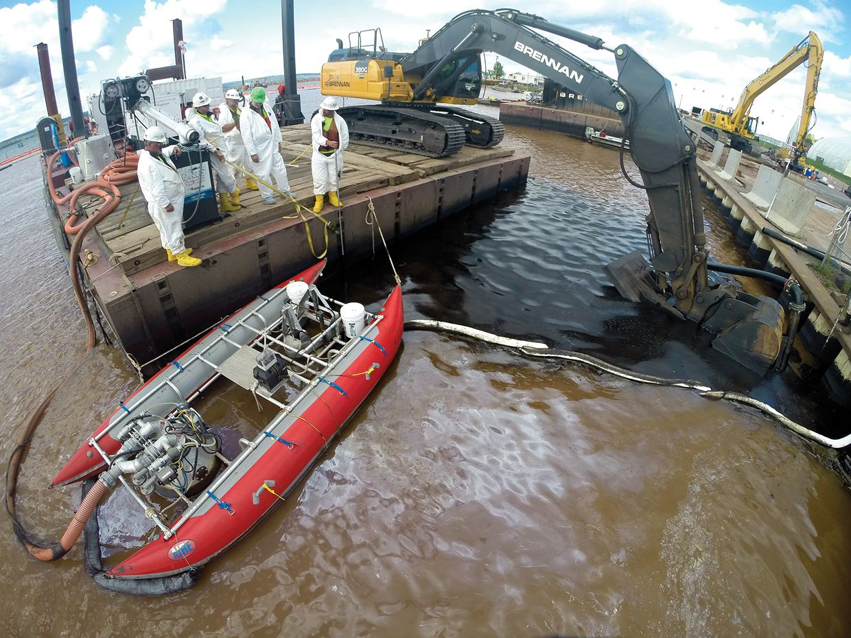 Photo of oil skimmers was deployed at a Superfund site on the shores of Lake Superior.