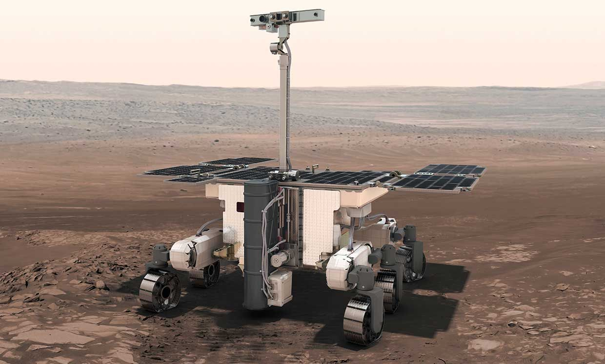 Illustration of the The ExoMars rover on the Martian surface.