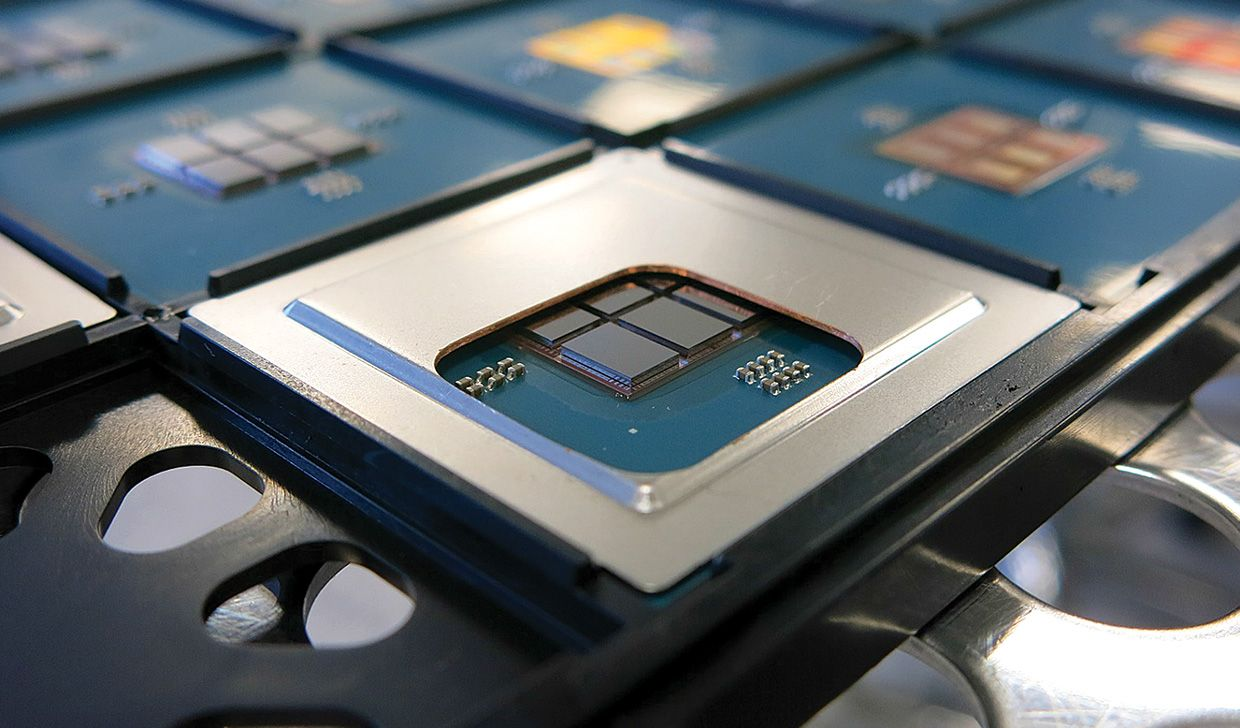 Photo of six chiplets in a 96-core processor.