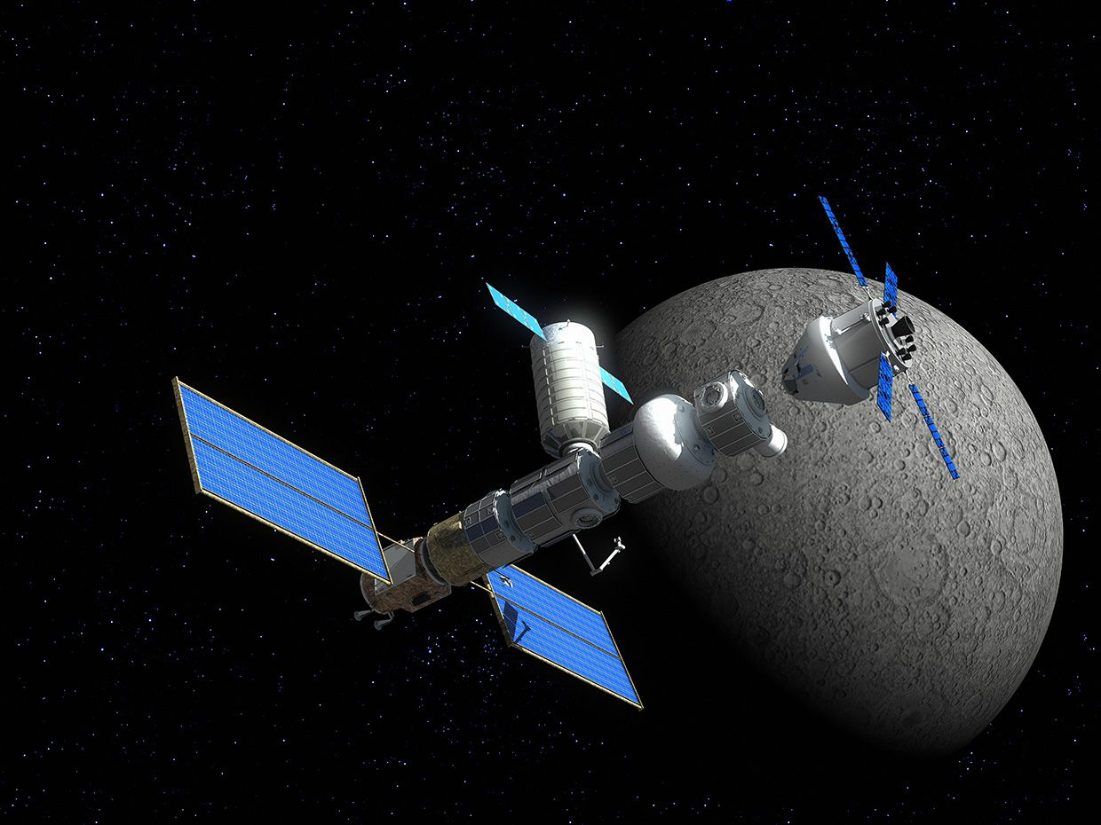 Illustration of space vehicle orbiting the moon.