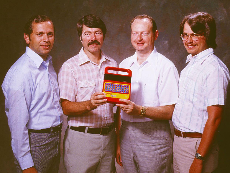 The Speak & Spell designers: [from left] Gene Frantz, Richard Wiggins, Paul Breedlove, and Larry Brantingham.