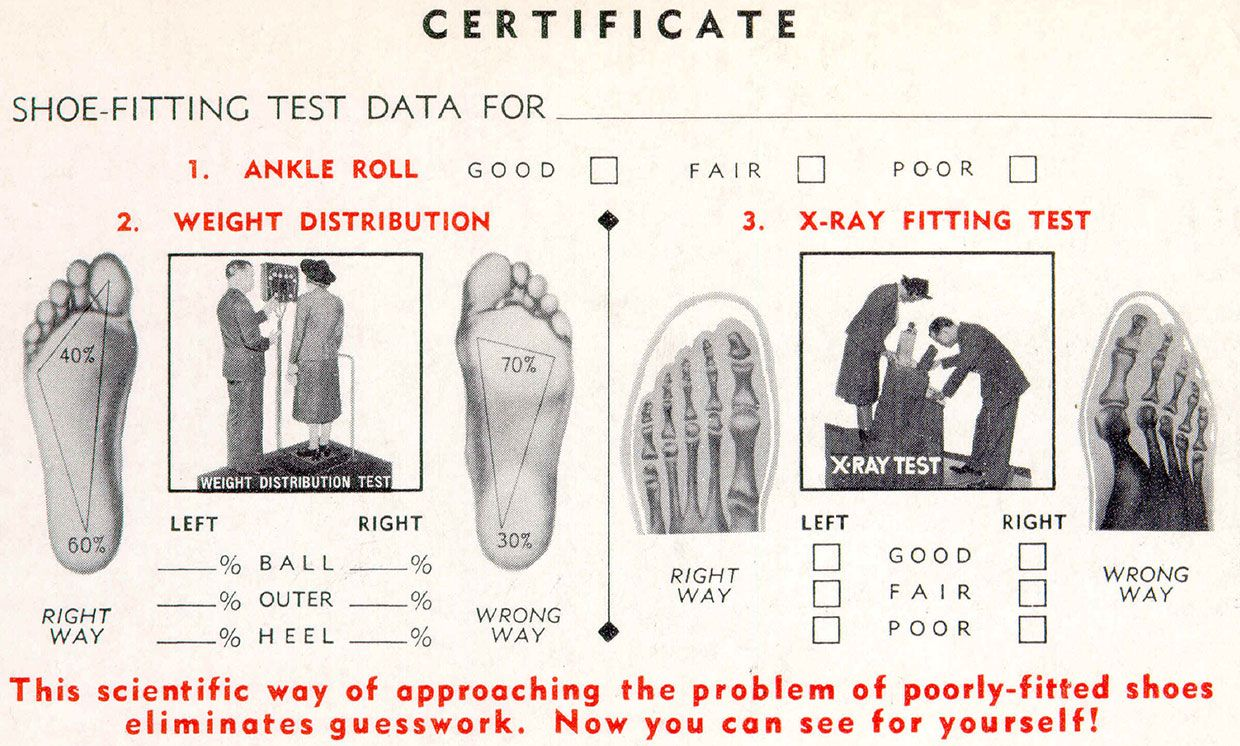 Certificates issued to customers highlighted the shoe-fitting fluoroscope's scientific approach.