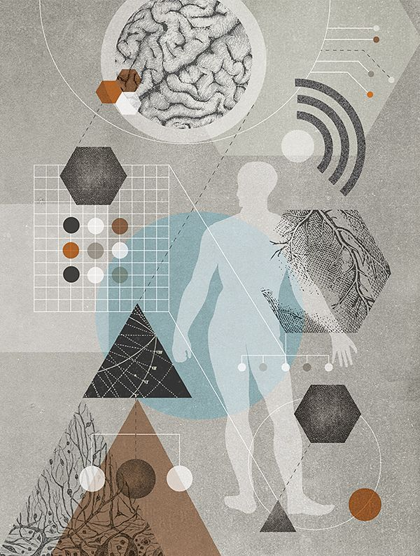 Illustration of a figure surrounded by symbols such as wifi and medical.