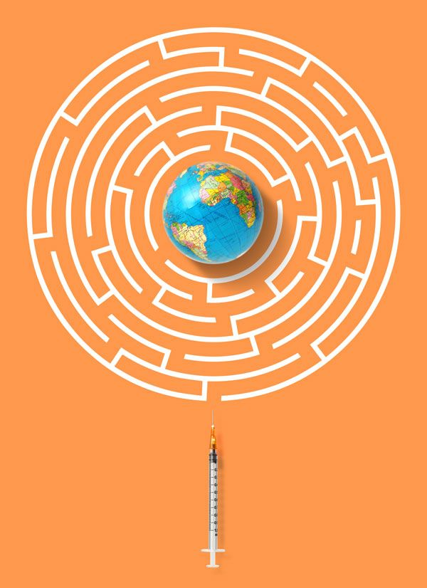 Image of a maze with the Earth at the center and a hypodermic needle at the bottom.