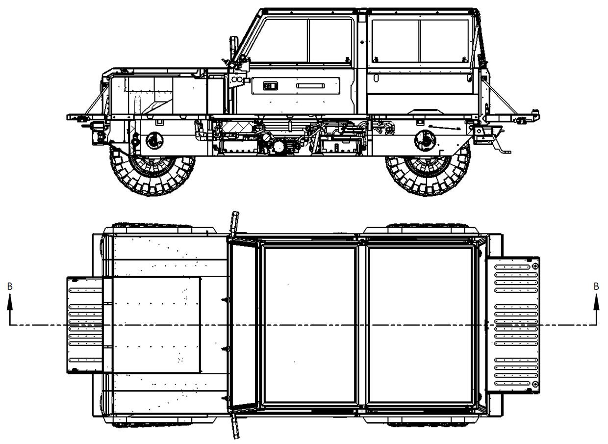Image from the Bollinger Motors' Frunkgate and Passthrough patent