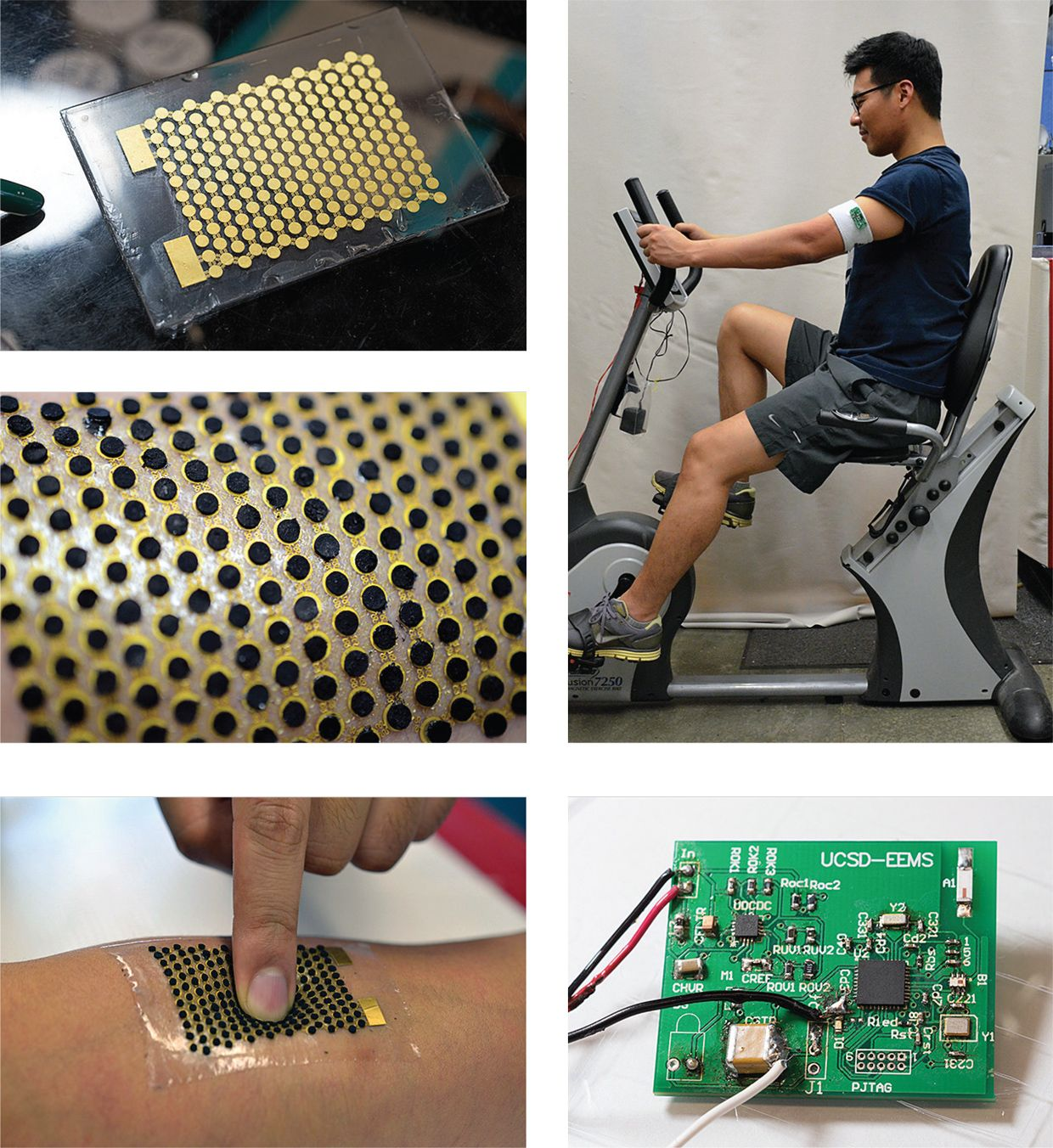 Photo-group showing how a wearable turns sweat into energy.