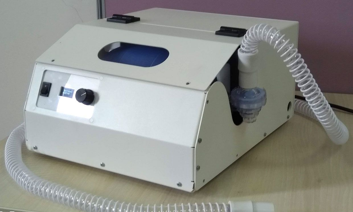 The RespiratorApparatus is one of Breath of Hope's low-cost ventilator designs, which automates bag valve mask pumping.