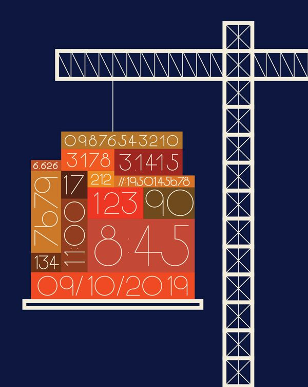 illustration of block of numbers being lifted by a crane.
