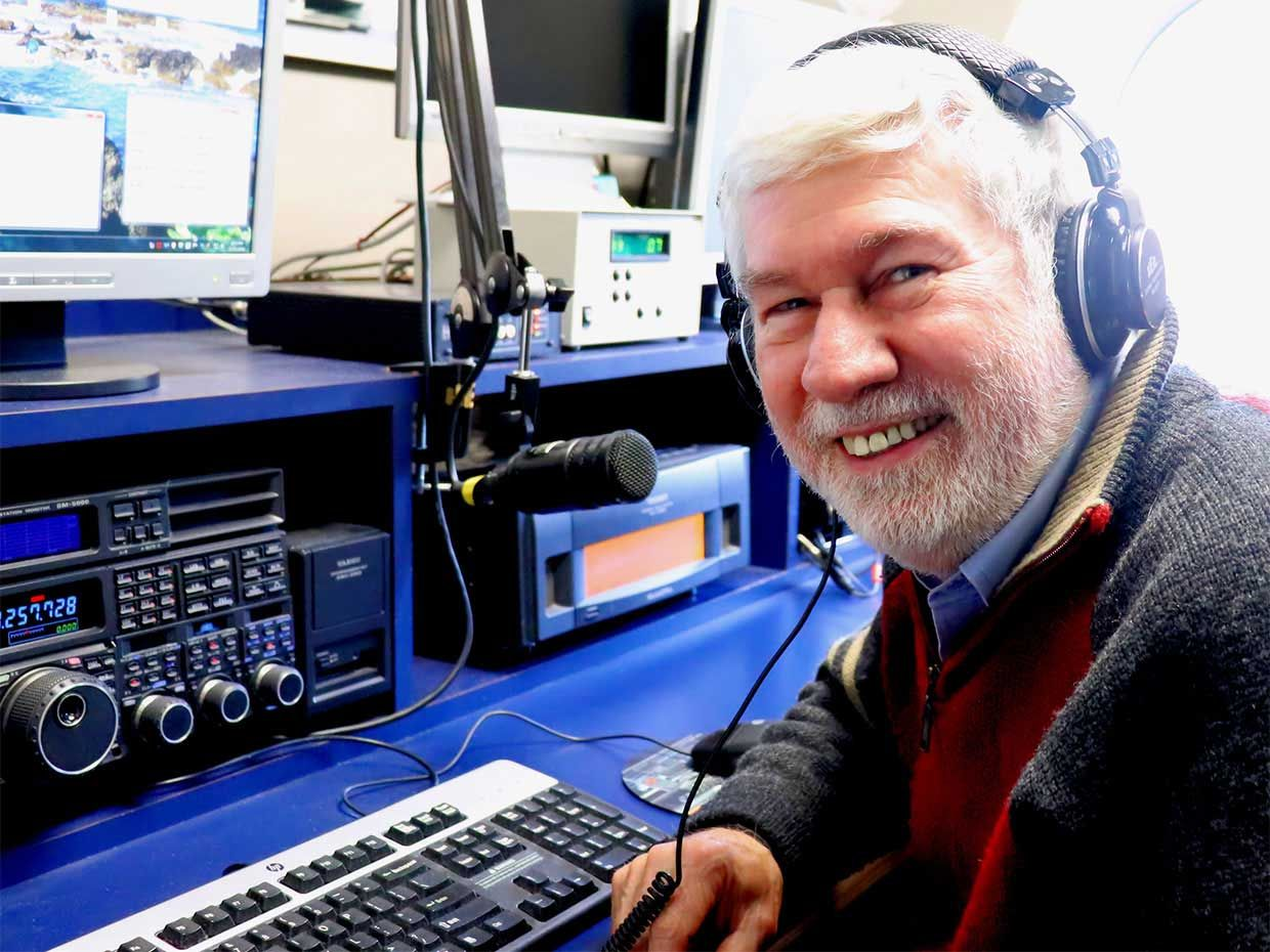 Former ARRL CEO Howard Michel at headquarters station, W1AW.