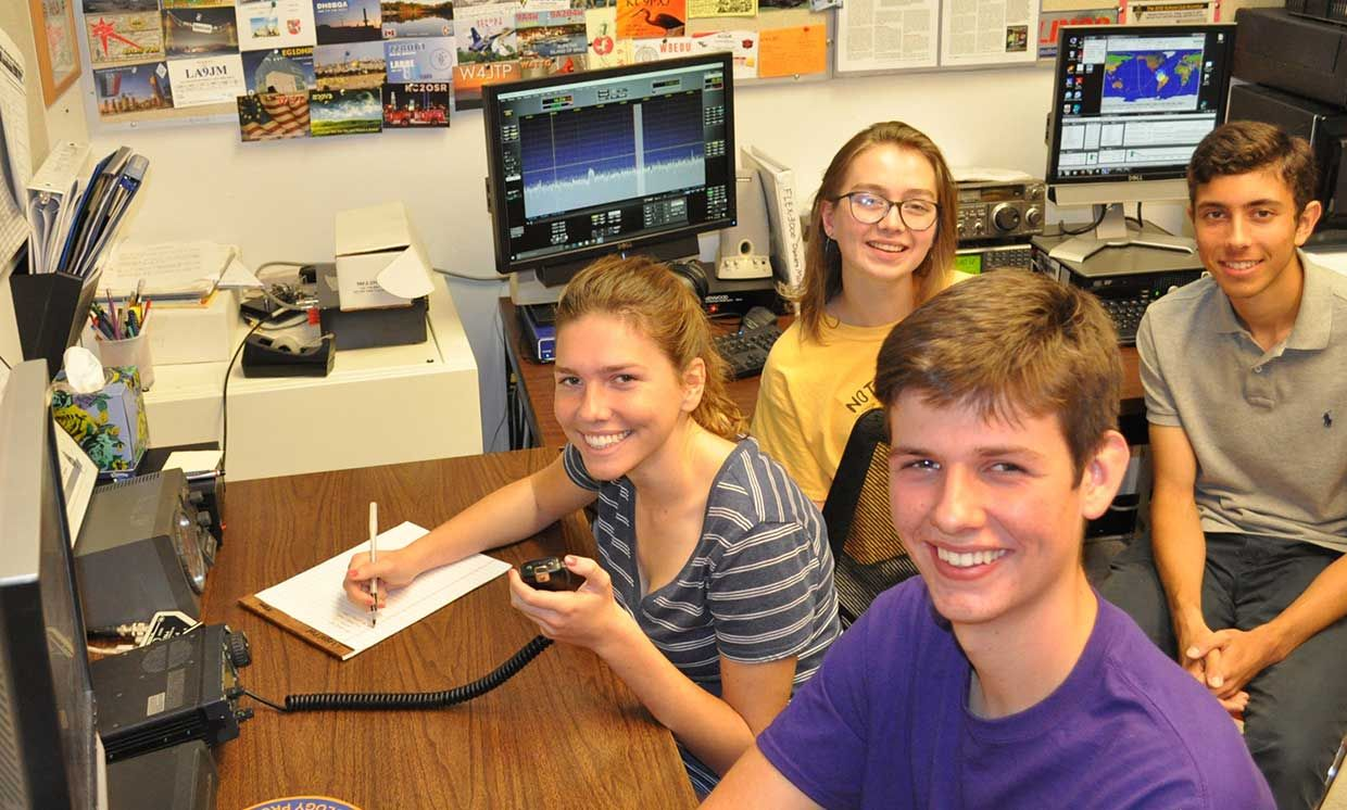 members from the LASA High School Amateur Radio Club, K5LBJ, in Austin, Texas participated in School Club Roundup, and twice-yearly on-air event that encourages participation from ham radio school groups.