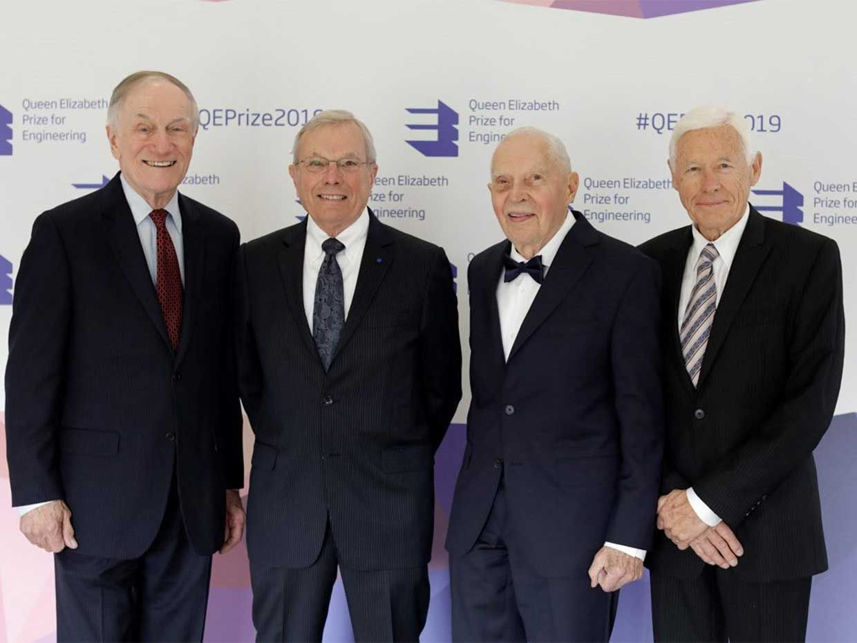 The 2019 Queen Elizabeth Prize for Engineering was awarded to Richard Schwartz, Bradford Parkinson, James Spilker, Hugo Fruehauf [pictured, from left]  for their work on the Global Positioning System (GPS).