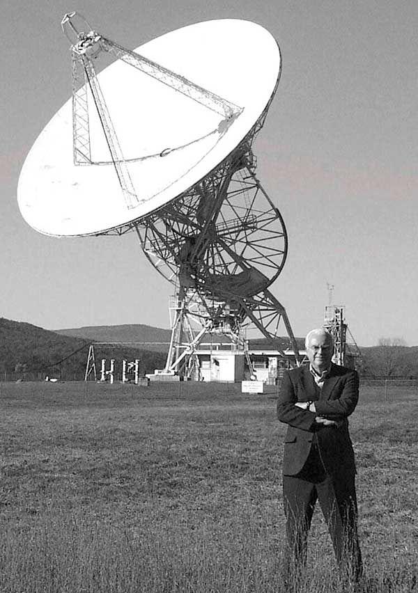 Image of Frank Drake using the Howard E. Tatel radio telescope.