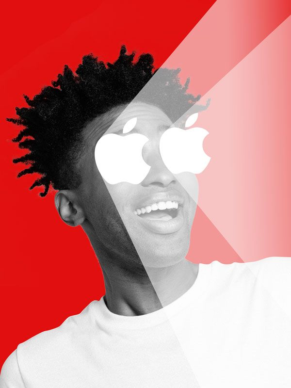 Illustration of a man with apple icon shining.