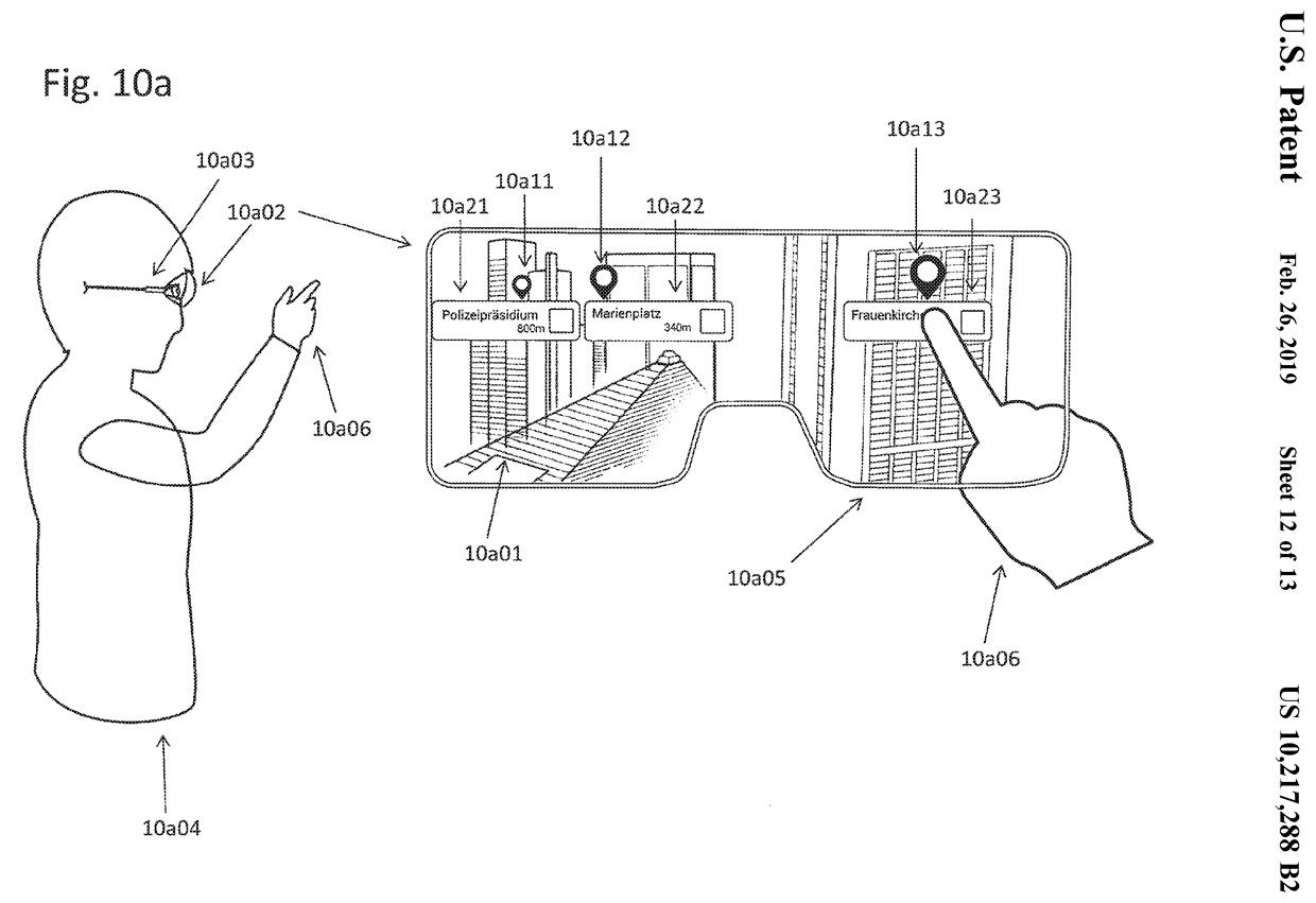 Apple's patent drawing for augment reality glasses.