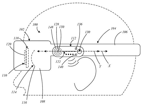A side view of a head for Apple's patent drawing for augment reality glasses.