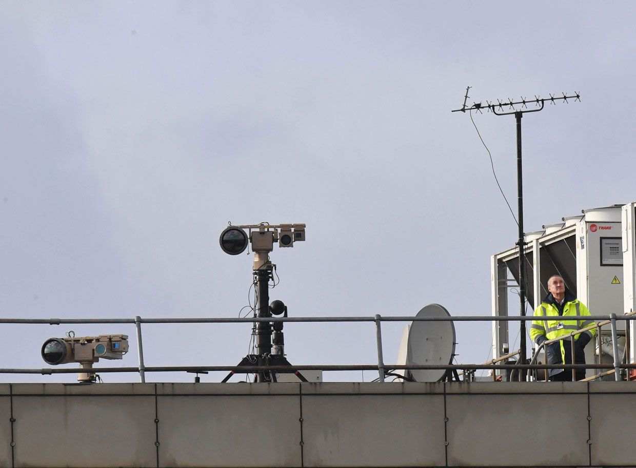 Officials placed counter-UAS technology on the roof of London's Gatwick Airport after drones were spotted in the area