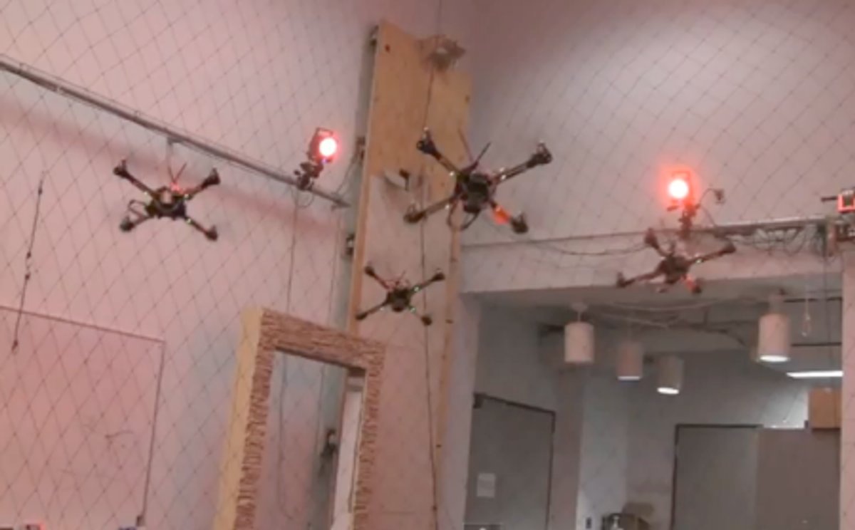 Quadrotor Formation Flying Gets Aggressive