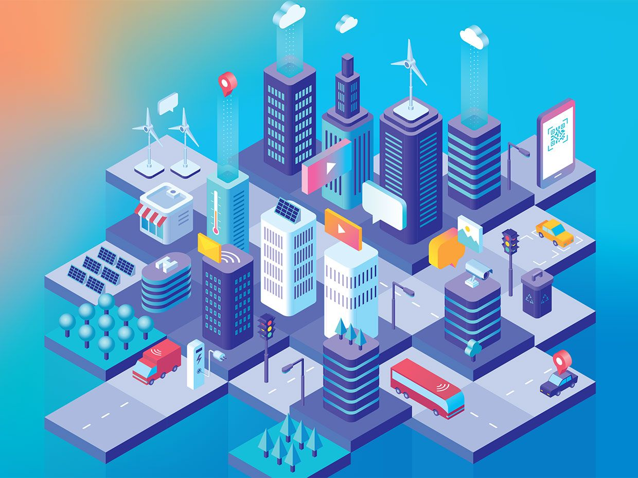 Colorful illustration of a smart city in action