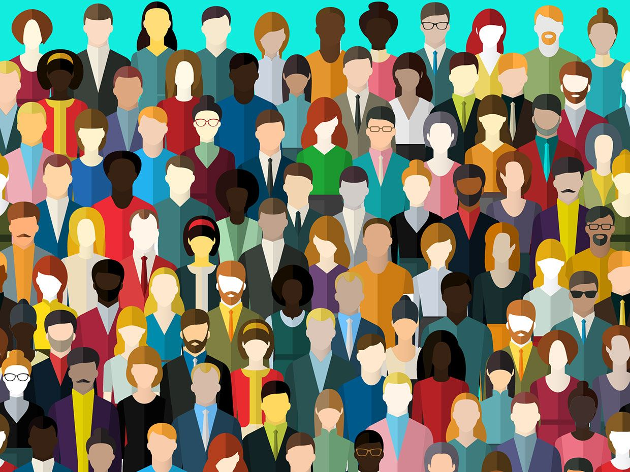 Illustration of a large number of diverse people