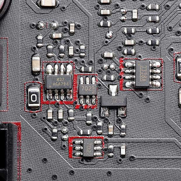 Close up image of a circuit board showing a threatened area: small components