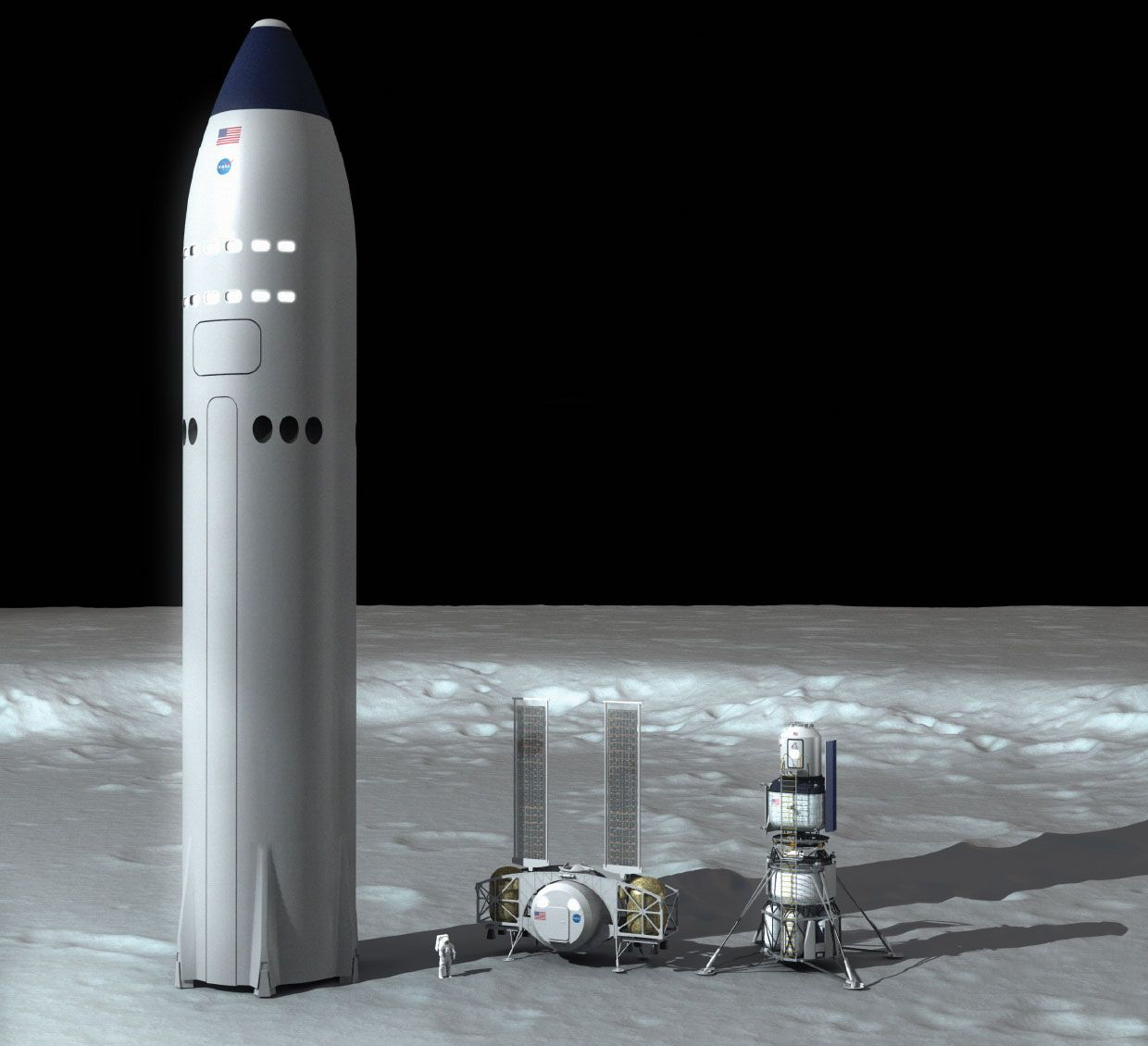 Image showing the dramatic differences in three lander designs.