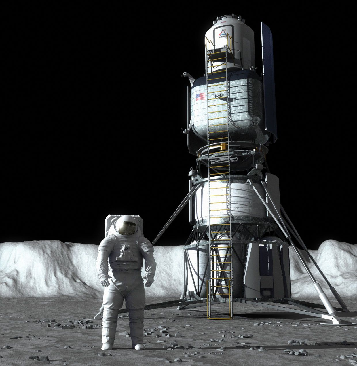 Image of an astronaut on the moon next to a lander.