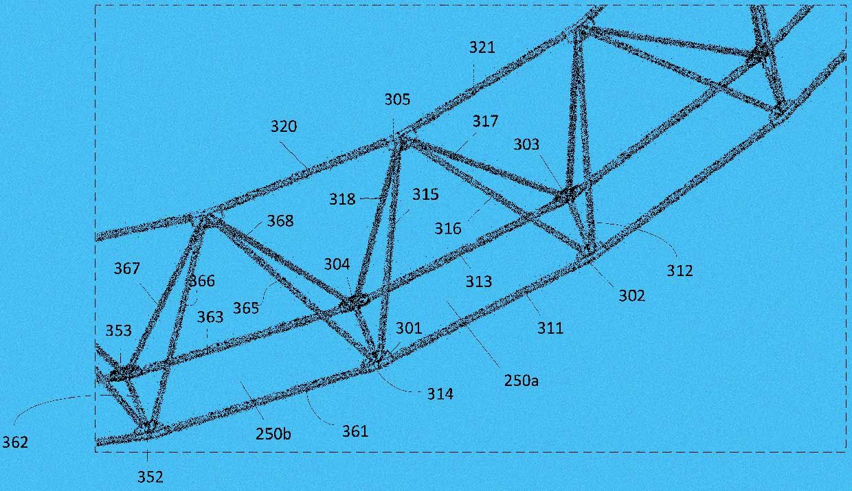 Image from LTA patent showing close up detail of the frame's modular construction