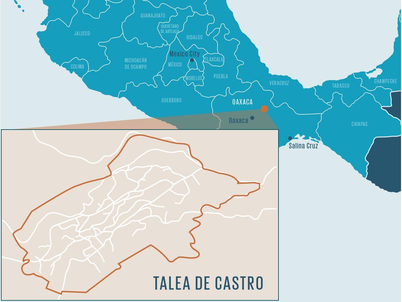 Map showing location of Talea de Castro in Mexico.