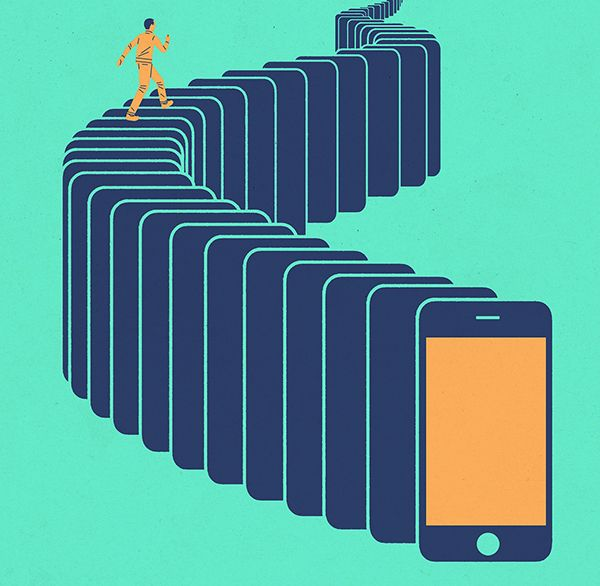 Illustration of a person walking up stairs made of smart phones.