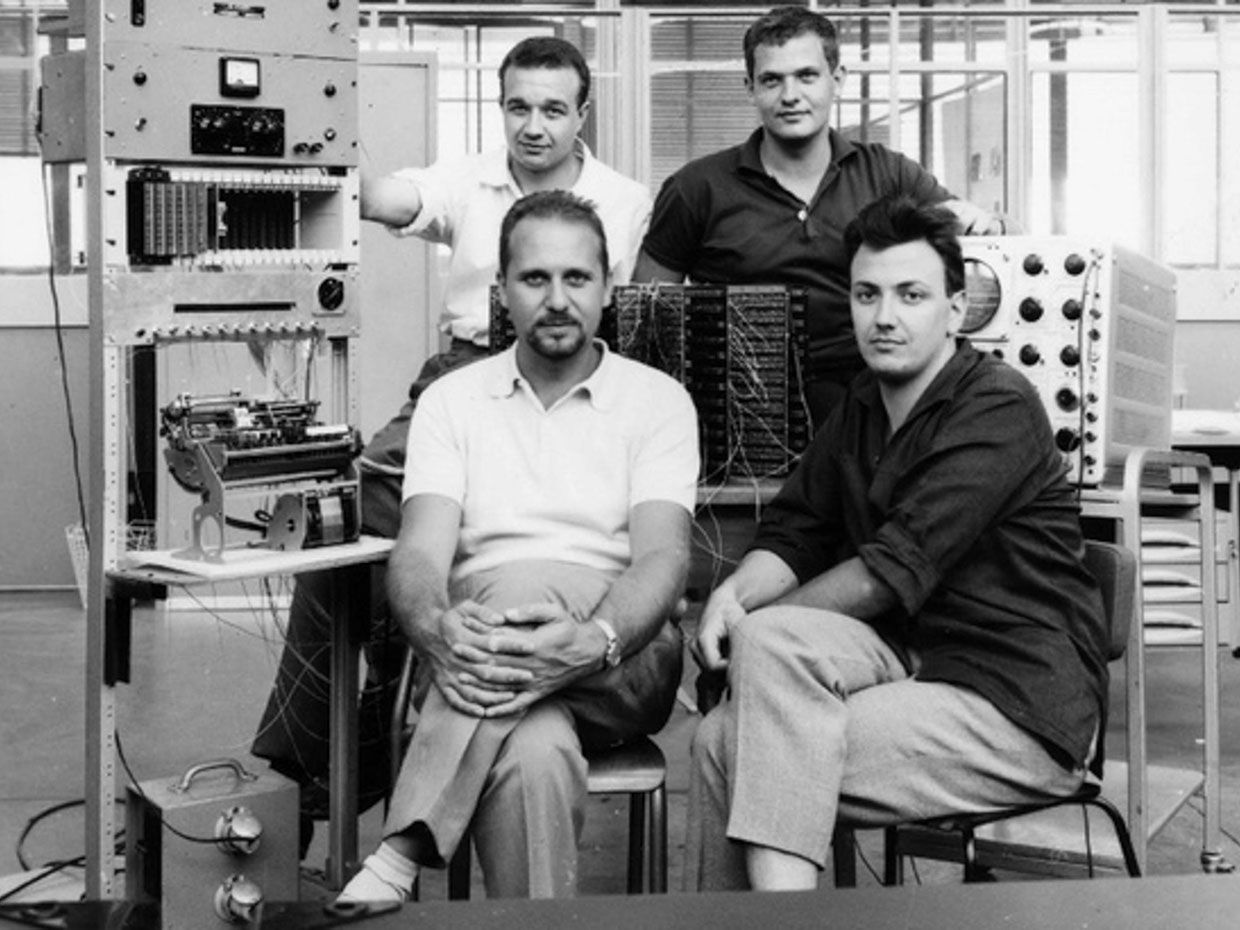 Photo of the engineering team that developed Olivetti's Programma 101 desktop calculator.