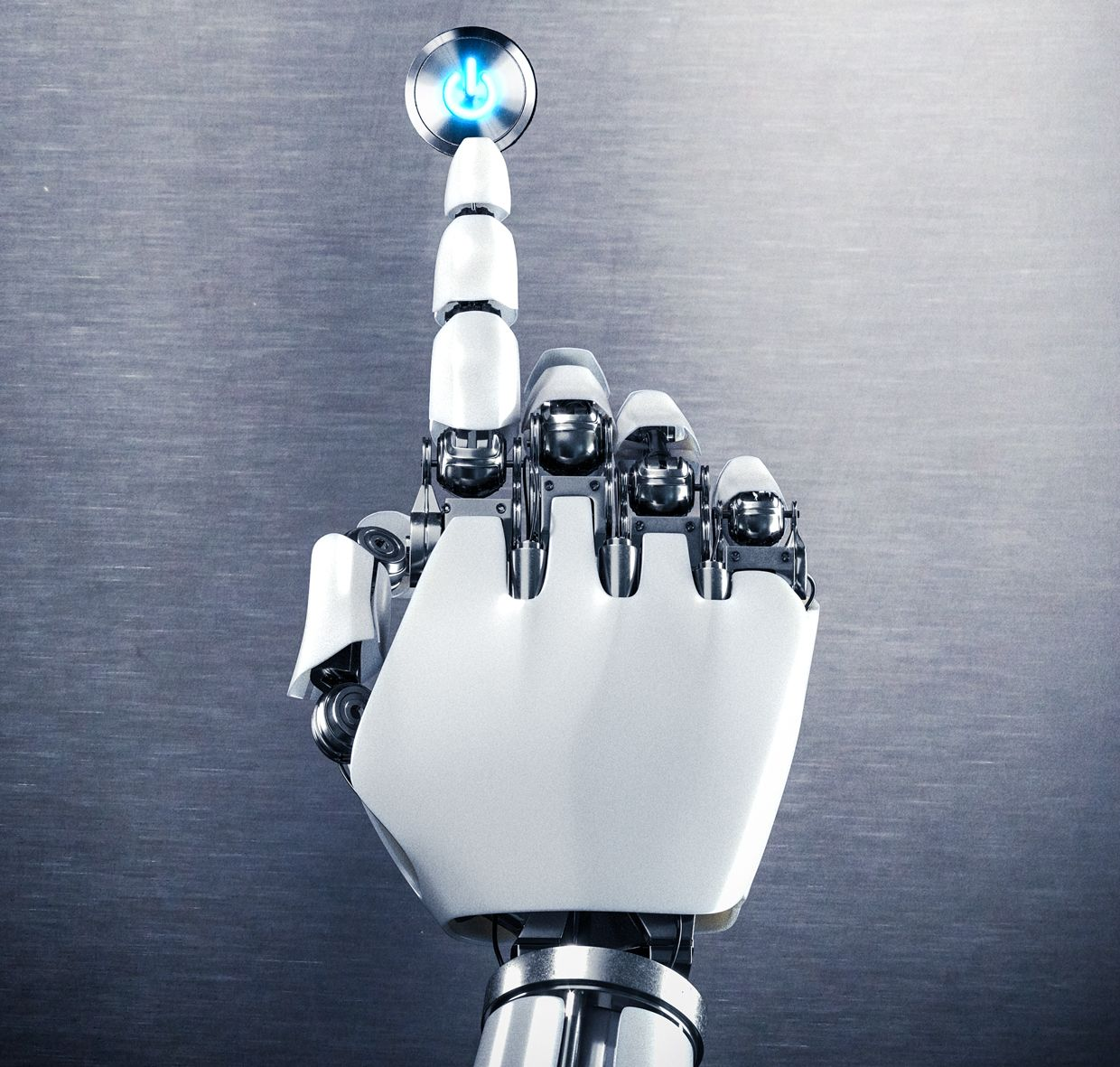 photo of robot hand pushing button