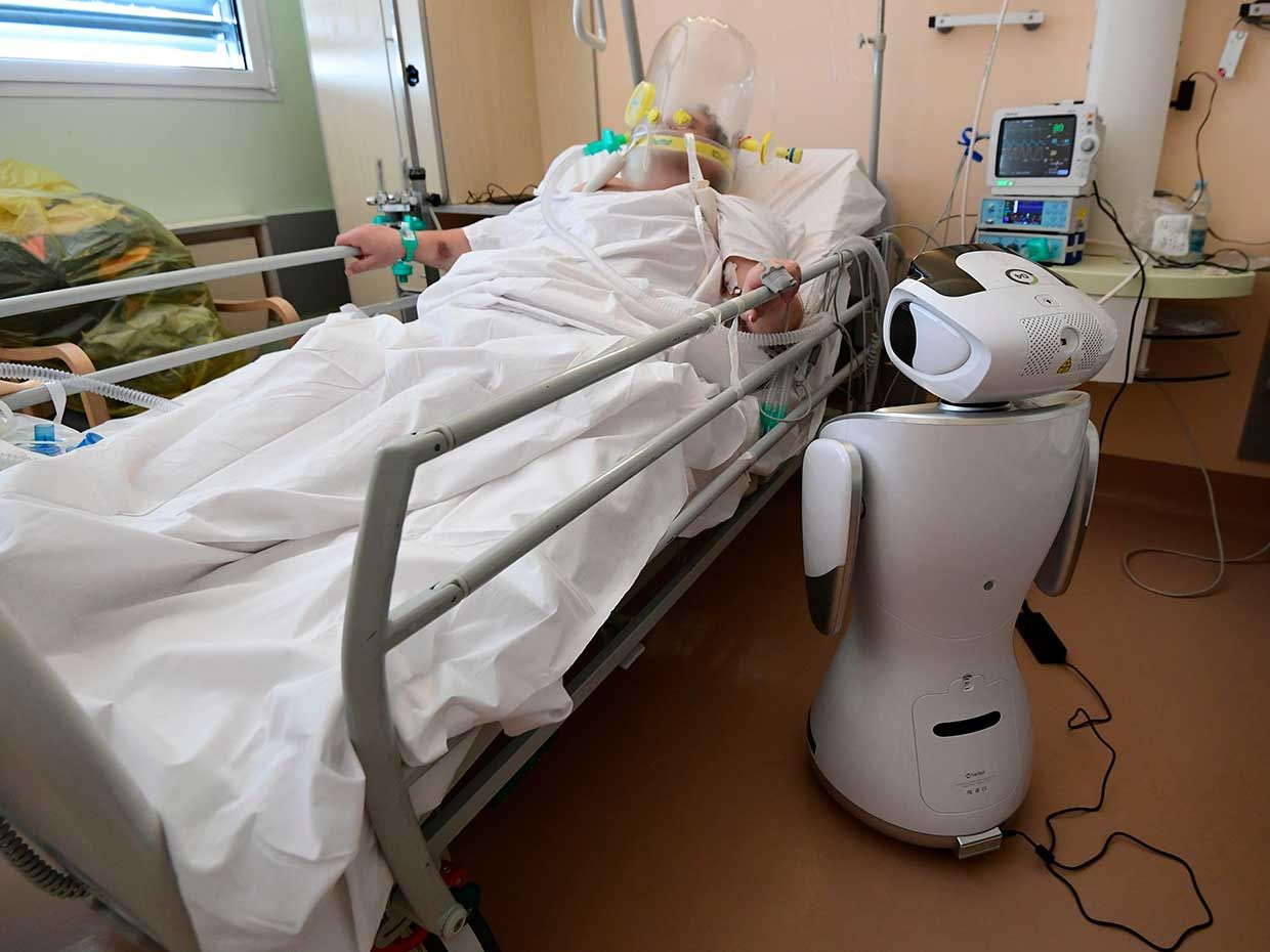 Nurses and doctors at Circolo Hospital in Varese, in northern Italy—the country's hardest-hit region—use robots as their avatars, enabling them to check on their patients around the clock while minimizing exposure and conserving protective equipment.
