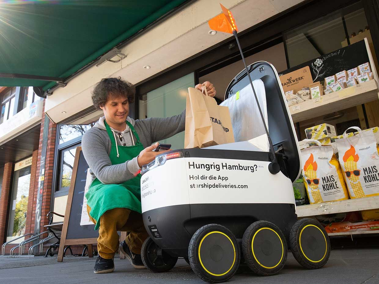 In Hamburg, the six-wheeled robots developed by Starship Technologies navigate using cameras, GPS, and radar to bring groceries to customers