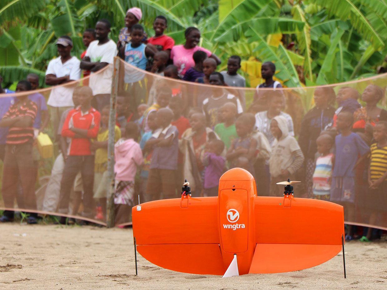 Startup Wingtra demonstrating its cargo drone.