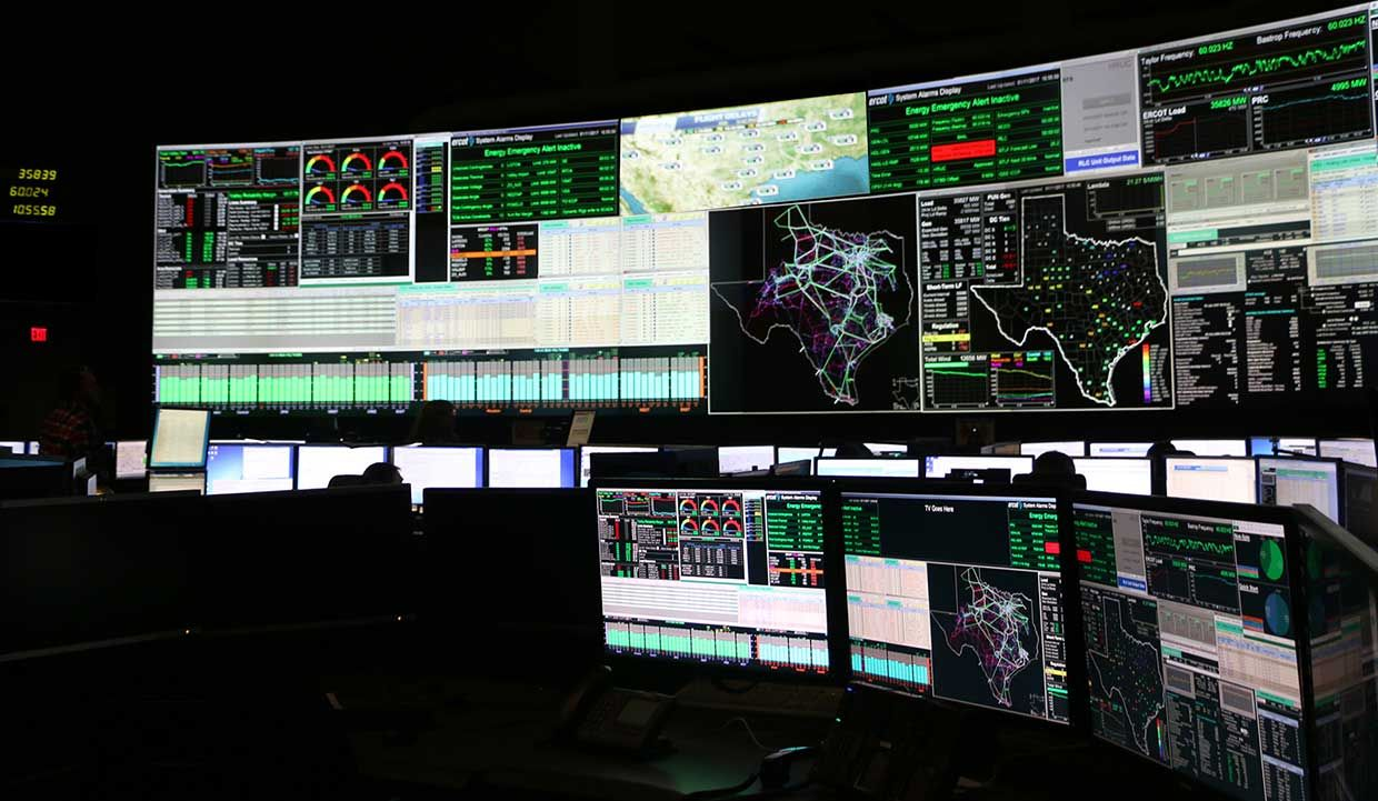 The Texas electrical grid is controlled by the Electric Reliability Council of Texas (ERCOT) from a control room in Taylor, Texas.