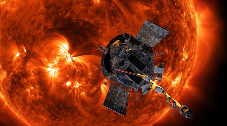 Illustration of the Parker Solar Probe in orbit around the sun.