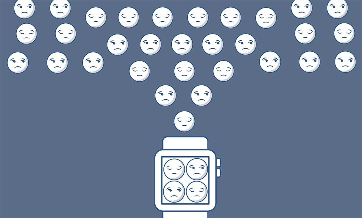 Illustration of a smart watch with emojis coming out of it