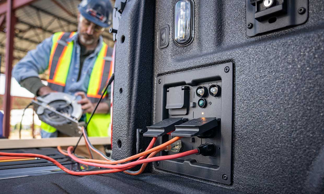 Ford's new Pro Power Onboard mobile generator for its new F-150 pickup has four outlets for 110 volt gear, one for 240-volt.