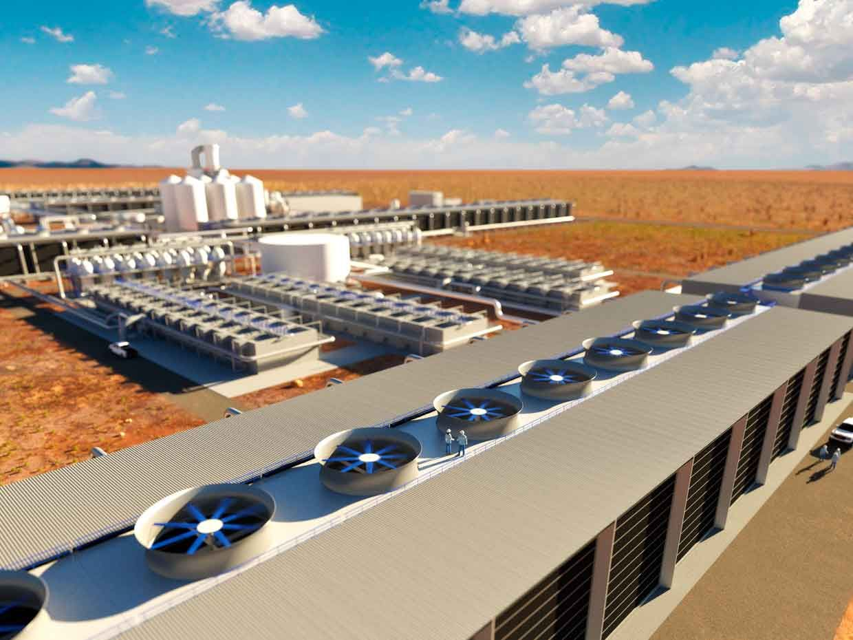 An artist rendering of Carbon Engineering's new site in West Texas