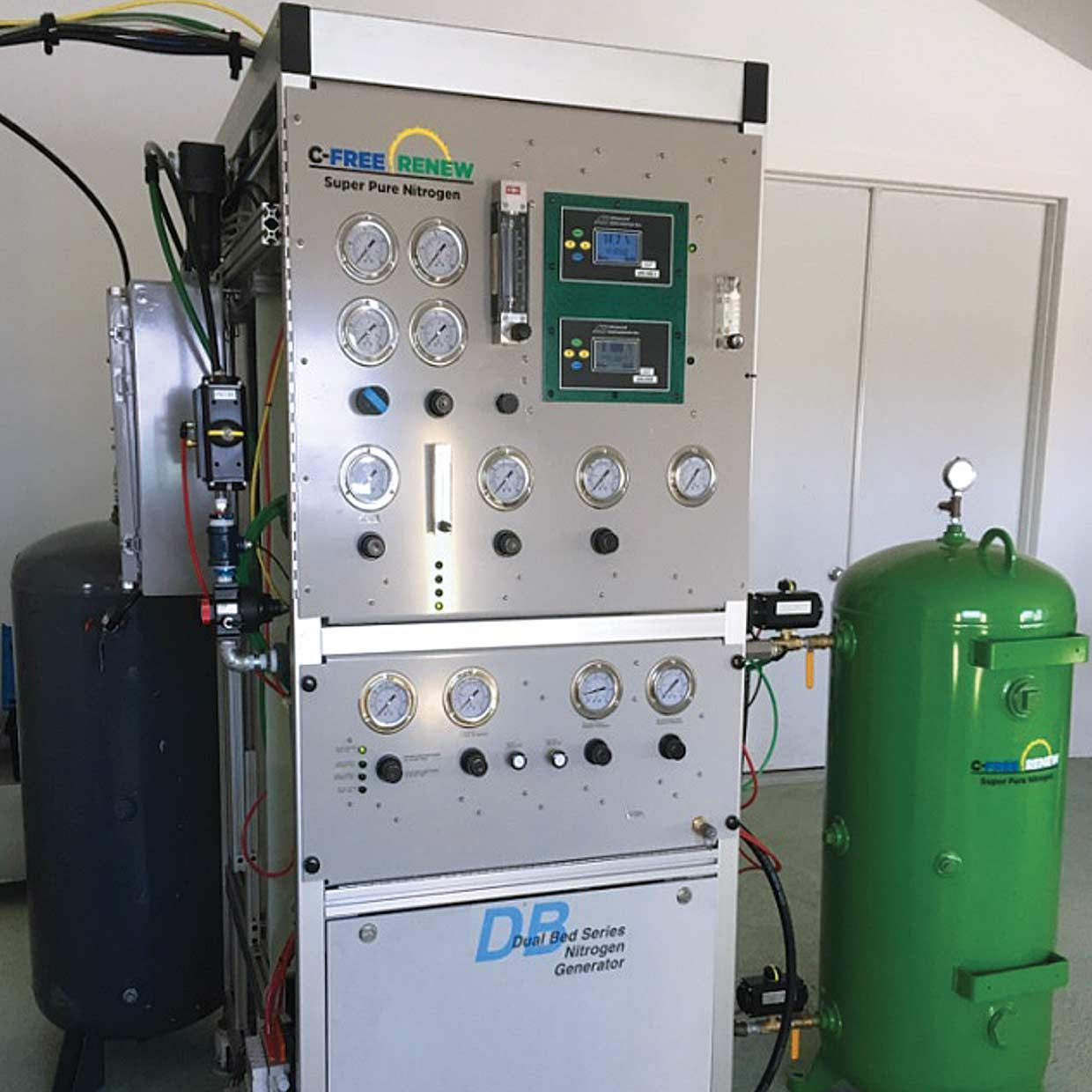 The nitrogen generator is key to reducing the amount of oxygen in the air mixture and making the nitrogen pure enough to be used for fuel.