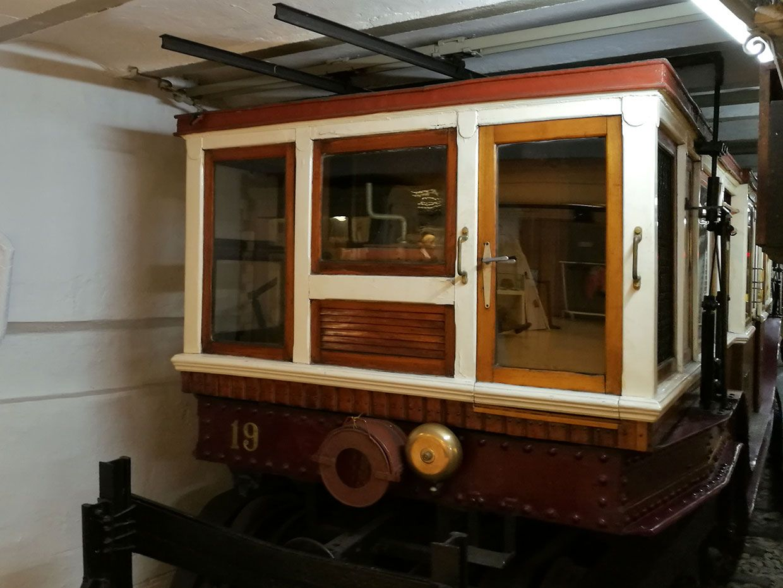 An original tram car of the Budapest Metro Line No. 1 displayed at the Budapest Underground Railway Museum.