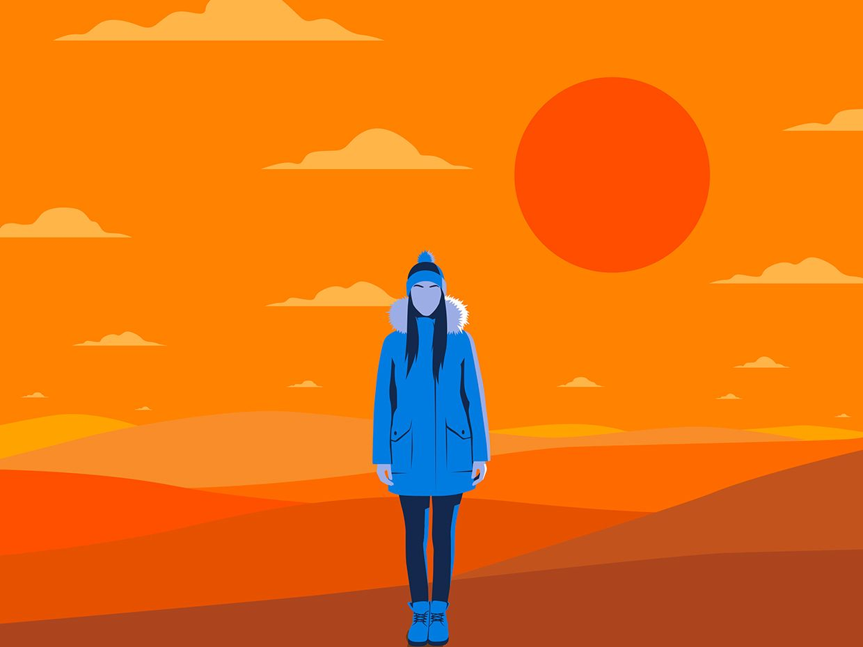 illustration of faceless woman in winter coat with a warm orange background.