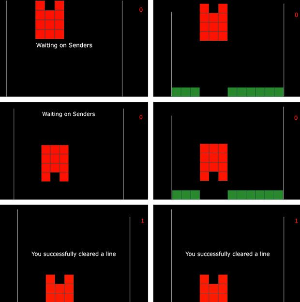 Examples of Screens seen by the Receiver and the Senders across Two Rounds. Te Receiver sees the three example screens on the lef side and the Senders see the screens on the right side.