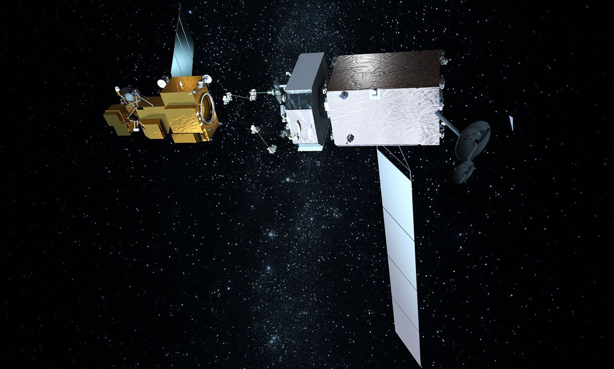 Artist's rendering of Restore-L (bottom) about to grapple and service Landsat 7.