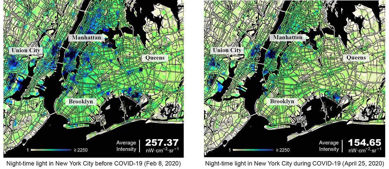 Side by side graphics compare night time light in New York City on February 8, 2020 (left) and April 25th, 2020.