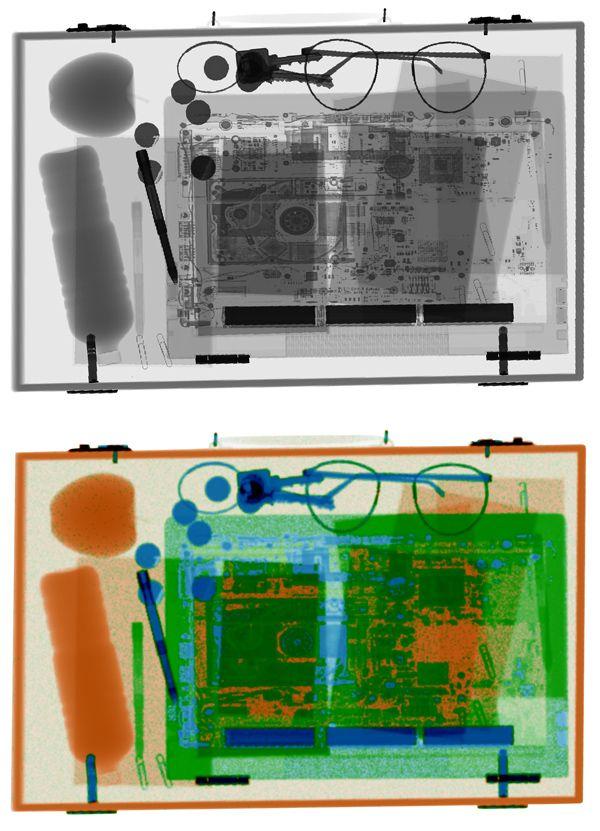 Radiograph of briefcase.