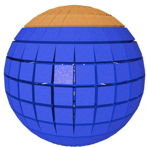 Dust accumulation on a spherical solar cell is limited to the silicon area with a small tilt angle.