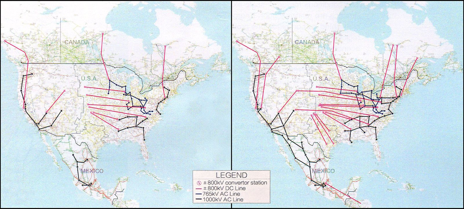 Ultrahigh-voltage grid expansions proposed by GEIDCO through 2035 (left) and 2050 (right)