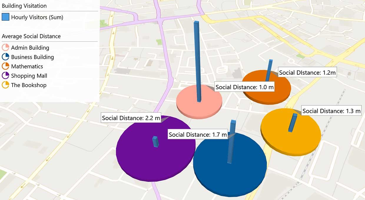 Using Wi-Fi data, algorithms calculate the population density for specific spaces on campus at particular times.