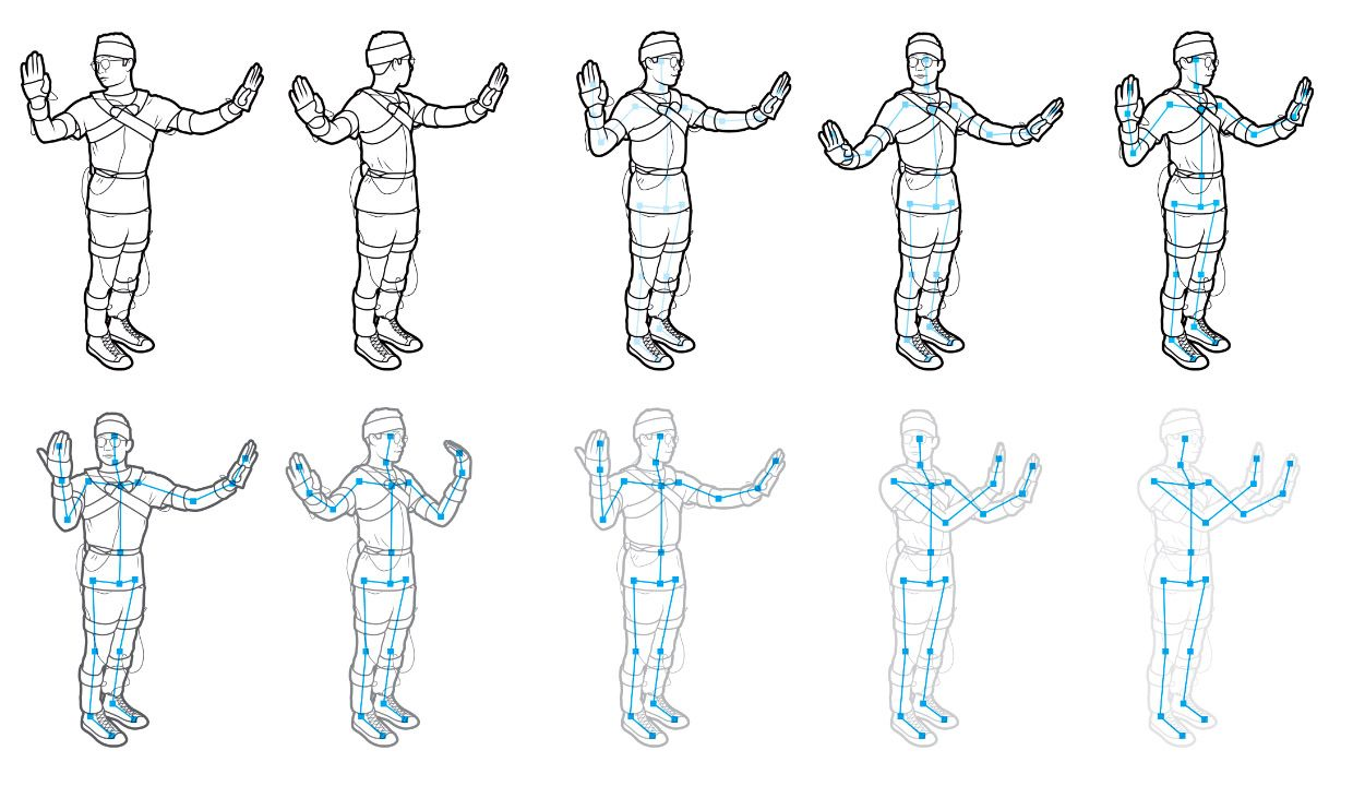 Illustration of the motion capture from person to stick figure.